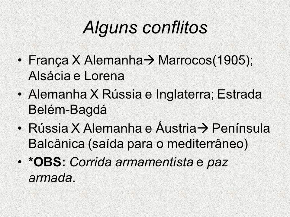 Alguns conflitos França X Alemanha  Marrocos(1905); Alsácia e Lorena Alemanha X Rússia e Inglaterra; Estrada Belém-Bagdá Rússia X Alemanha e Áustria