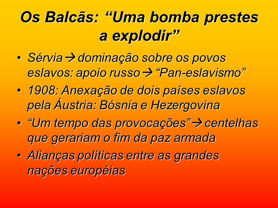 """Os Balcãs: """"Uma bomba prestes a explodir"""" Sérvia  dominação sobre os povos eslavos: apoio russo  """"Pan-eslavismo""""Sérvia  dominação sobre os povos es"""