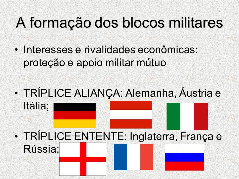 A formação dos blocos militares Interesses e rivalidades econômicas: proteção e apoio militar mútuo TRÍPLICE ALIANÇA: Alemanha, Áustria e Itália; TRÍP