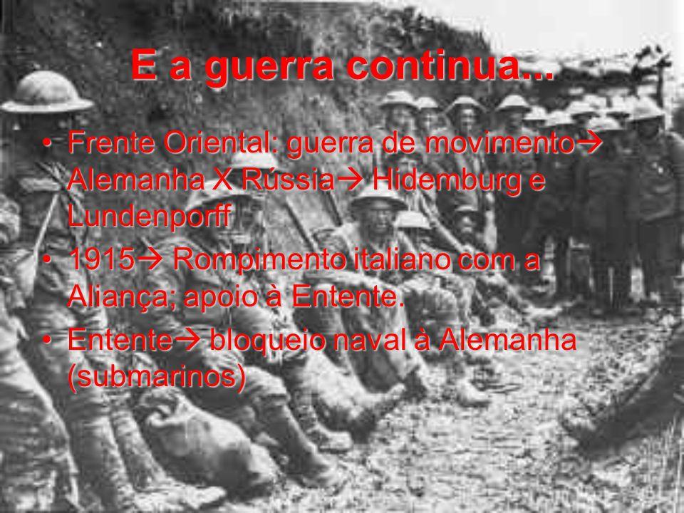 E a guerra continua... Frente Oriental: guerra de movimento  Alemanha X Rússia  Hidemburg e LundenporffFrente Oriental: guerra de movimento  Aleman