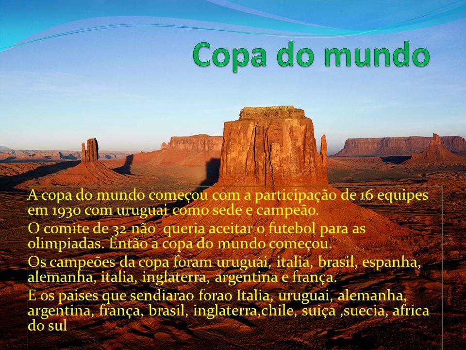 A copa do mundo começou com a participação de 16 equipes em 1930 com uruguai como sede e campeão.