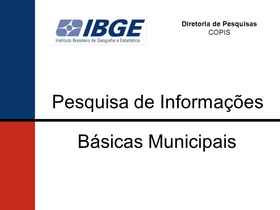 Diretoria de Pesquisas COPIS Básicas Municipais Pesquisa de Informações
