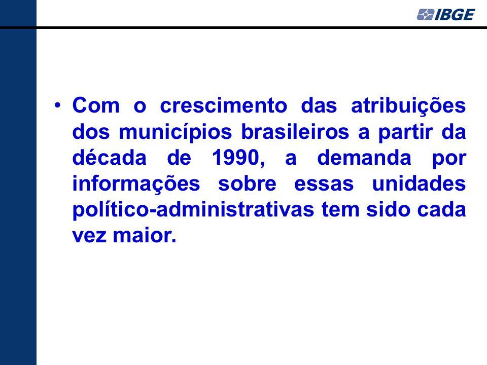 Com o crescimento das atribuições dos municípios brasileiros a partir da década de 1990, a demanda por informações sobre essas unidades político-administrativas tem sido cada vez maior.