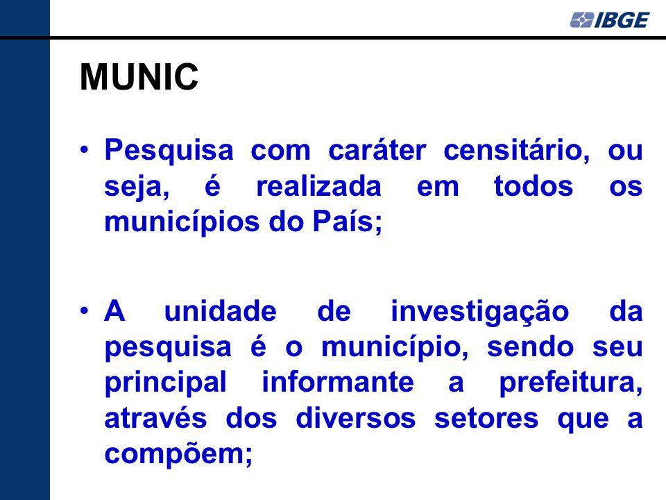 MUNIC Pesquisa com caráter censitário, ou seja, é realizada em todos os municípios do País; A unidade de investigação da pesquisa é o município, sendo seu principal informante a prefeitura, através dos diversos setores que a compõem;