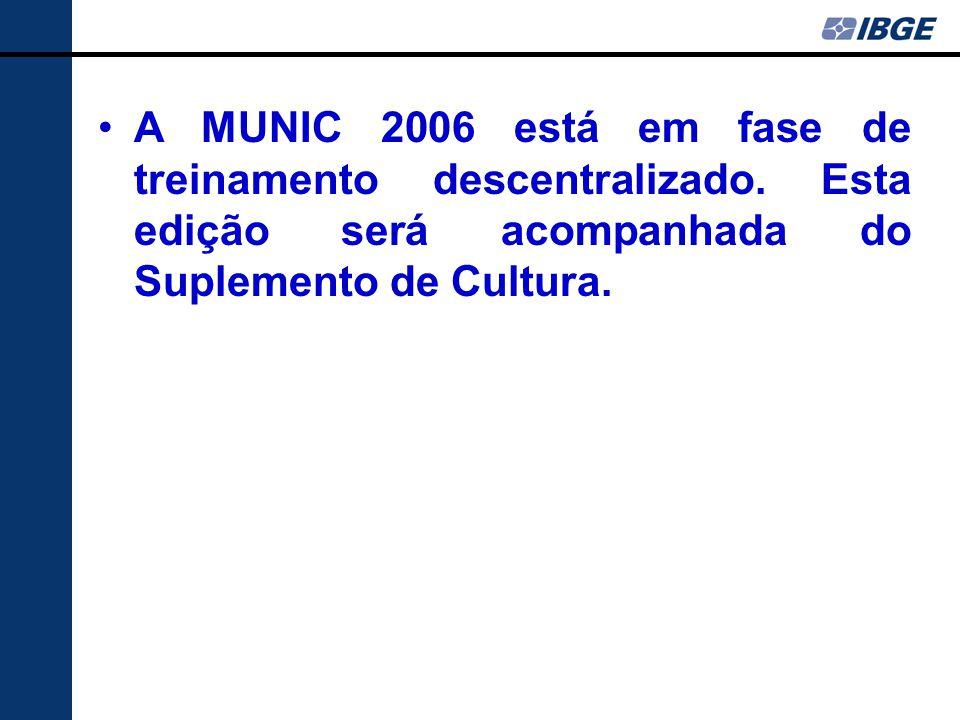 A MUNIC 2006 está em fase de treinamento descentralizado.