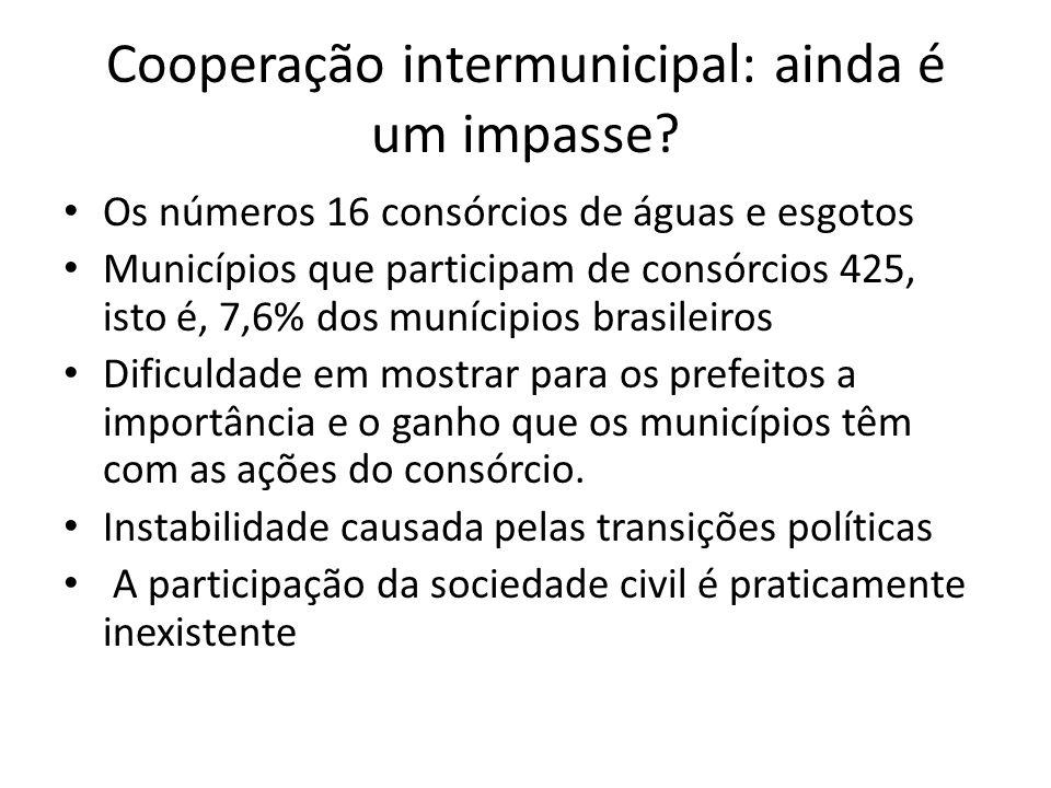 Cooperação intermunicipal: ainda é um impasse.