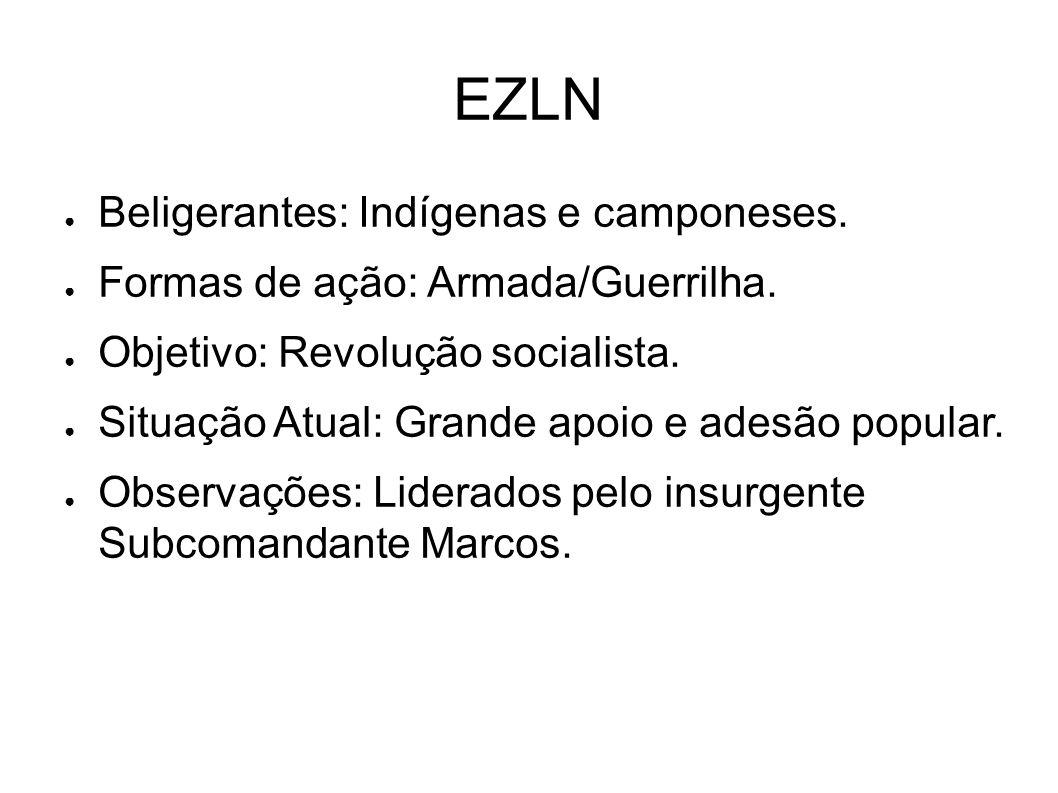 EZLN ● Beligerantes: Indígenas e camponeses. ● Formas de ação: Armada/Guerrilha. ● Objetivo: Revolução socialista. ● Situação Atual: Grande apoio e ad