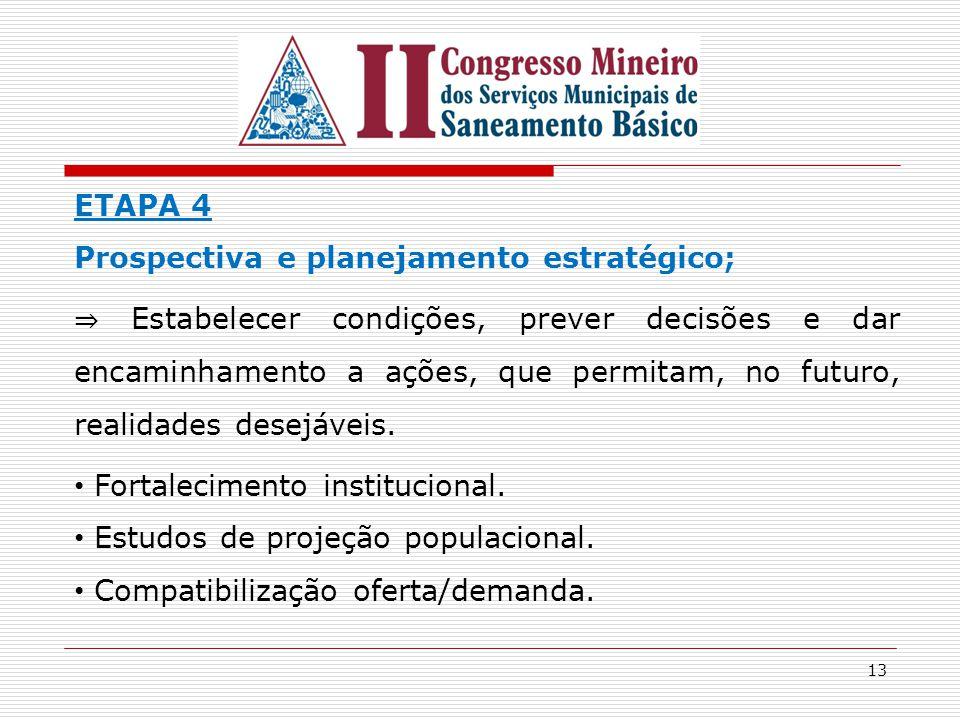 13 ETAPA 4 Prospectiva e planejamento estratégico; ⇒ Estabelecer condições, prever decisões e dar encaminhamento a ações, que permitam, no futuro, rea