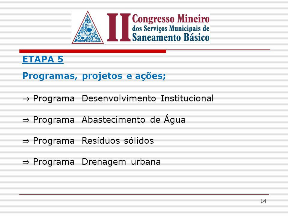 14 ETAPA 5 Programas, projetos e ações; ⇒ Programa Desenvolvimento Institucional ⇒ Programa Abastecimento de Água ⇒ Programa Resíduos sólidos ⇒ Progra