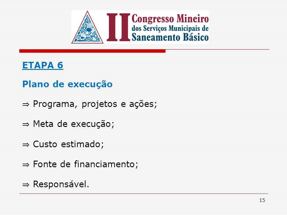 16 ETAPA 7 Projeto de Lei do Plano Municipal de Saneamento Básico ⇒ Institucionalização – sistema municipal de saneamento básico.