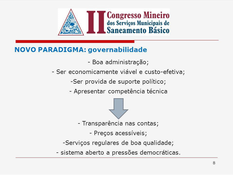 8 NOVO PARADIGMA: governabilidade - Boa administração; - Ser economicamente viável e custo-efetiva; -Ser provida de suporte político; - Apresentar com