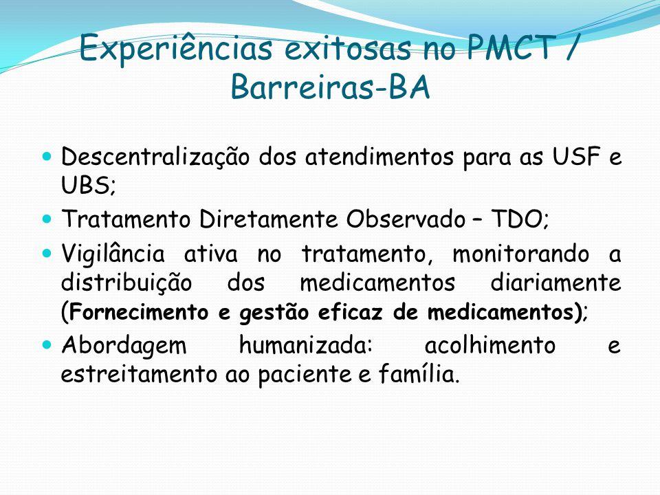 Experiências exitosas no PMCT / Barreiras-BA Descentralização dos atendimentos para as USF e UBS; Tratamento Diretamente Observado – TDO; Vigilância a