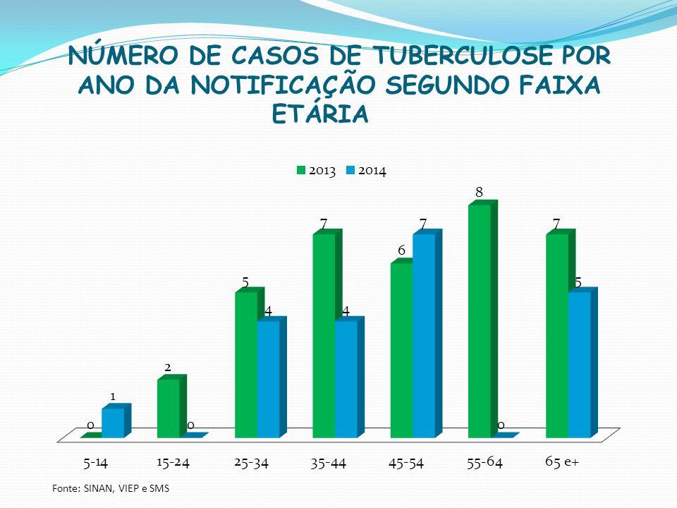 NÚMERO DE CASOS DE TUBERCULOSE POR ANO DA NOTIFICAÇÃO SEGUNDO FAIXA ETÁRIA Fonte: SINAN, VIEP e SMS