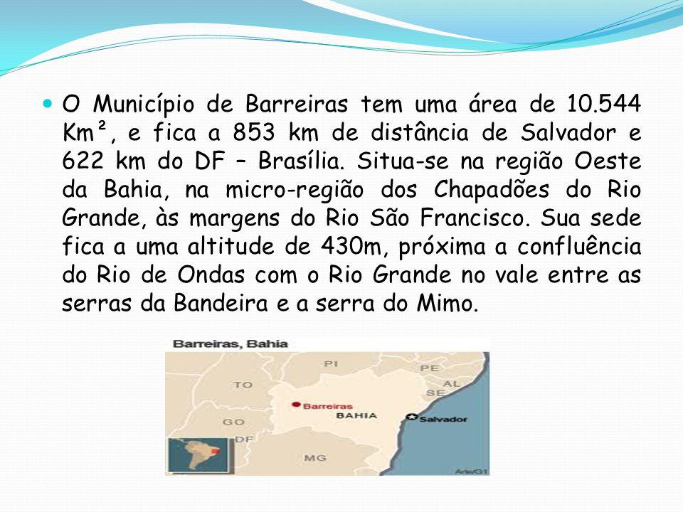 O Município de Barreiras tem uma área de 10.544 Km², e fica a 853 km de distância de Salvador e 622 km do DF – Brasília. Situa-se na região Oeste da B