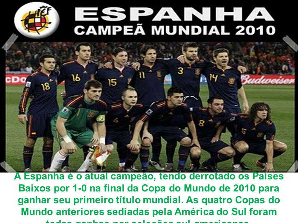 Com o país anfitrião, todas as equipes campeãs do mundo desde a primeira Copa do Mundo, em 1930 (Uruguai, Itália, Alemanha, Inglaterra, Argentina, Fra