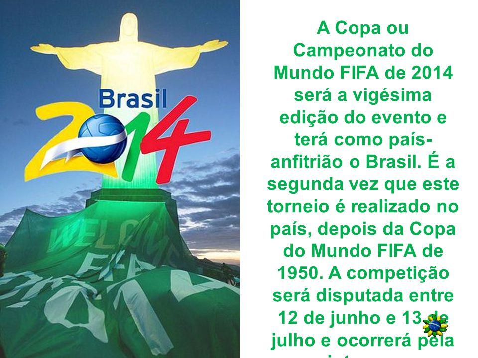 PÔSTER O desenho do pôster ou cartaz oficial da Copa do Mundo de 2014 (imagem ao lado) é uma disputa de bola entre dois jogadores representados apenas pelas suas pernas, e o contorno forma o mapa do Brasil no centro.