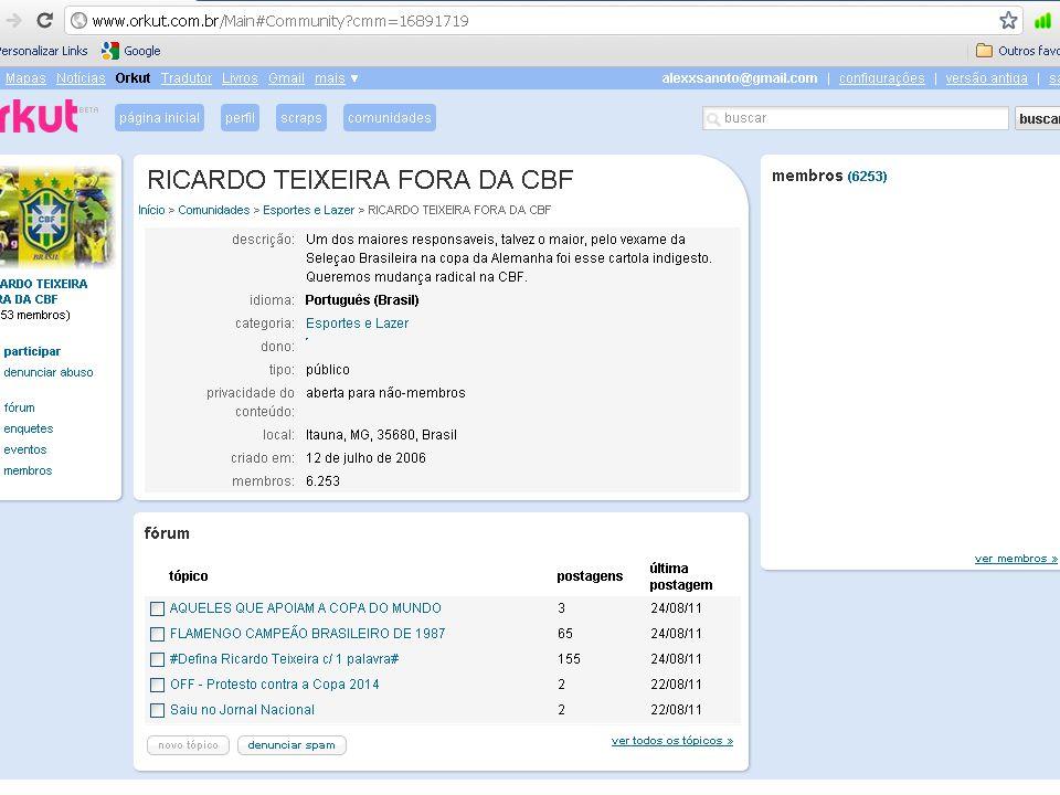 http://www.istoe.com.br/reportagens/119397_PRATO+CHEIO http://asnovidades.com.br/2009/patrocinador-da-copa-do-mundo-de-2014/ http://www.istoedinheiro.com.br/noticias/29280_OS+MILIONARIOS+GOLS+M ARCADOS+PELA+FIFA http://www1.folha.uol.com.br/esporte/938037-audiencia-da-copa-america- deve-ficar-abaixo-do-esperado.shtml RUY, Carolina Maria.