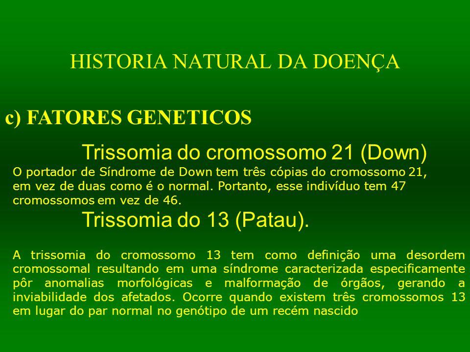 HISTORIA NATURAL DA DOENÇA c) FATORES GENETICOS Trissomia do cromossomo 21 (Down) O portador de Síndrome de Down tem três cópias do cromossomo 21, em