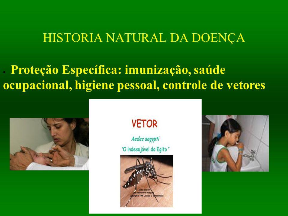 HISTORIA NATURAL DA DOENÇA  Proteção Específica: imunização, saúde ocupacional, higiene pessoal, controle de vetores