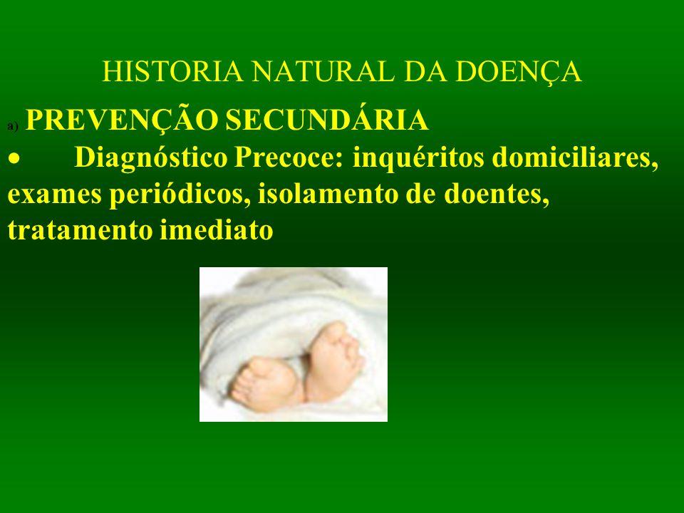 HISTORIA NATURAL DA DOENÇA a) PREVENÇÃO SECUNDÁRIA  Diagnóstico Precoce: inquéritos domiciliares, exames periódicos, isolamento de doentes, tratament