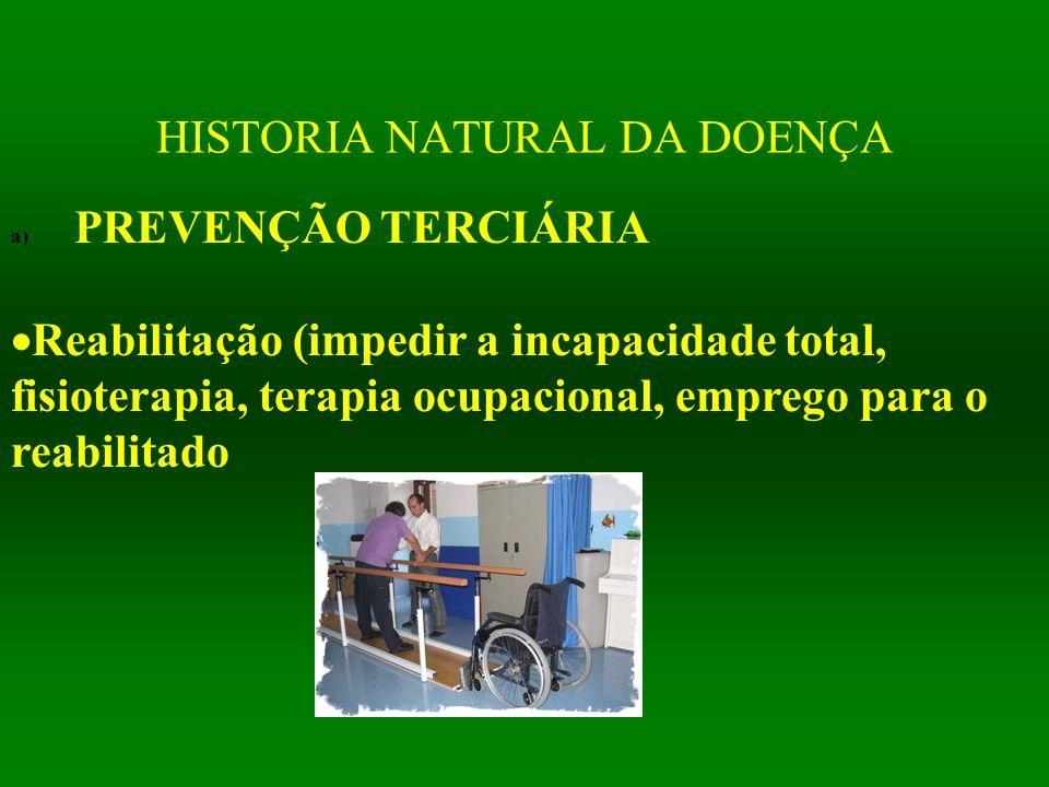 HISTORIA NATURAL DA DOENÇA a) PREVENÇÃO TERCIÁRIA  Reabilitação (impedir a incapacidade total, fisioterapia, terapia ocupacional, emprego para o reab
