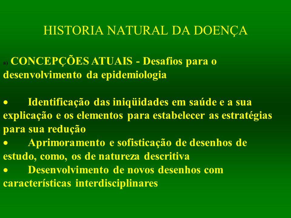 HISTORIA NATURAL DA DOENÇA a) CONCEPÇÕES ATUAIS - Desafios para o desenvolvimento da epidemiologia  Identificação das iniqüidades em saúde e a sua ex