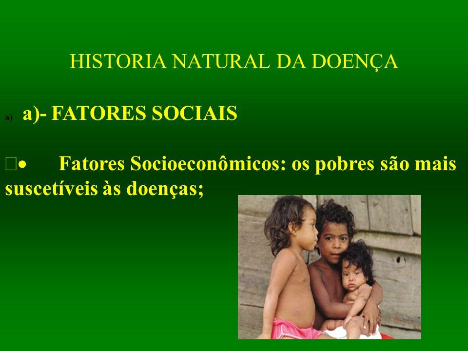 HISTORIA NATURAL DA DOENÇA a) a)- FATORES SOCIAIS  Fatores Socioeconômicos: os pobres são mais suscetíveis às doenças;