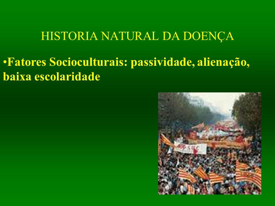 HISTORIA NATURAL DA DOENÇA Fatores Socioculturais: passividade, alienação, baixa escolaridade