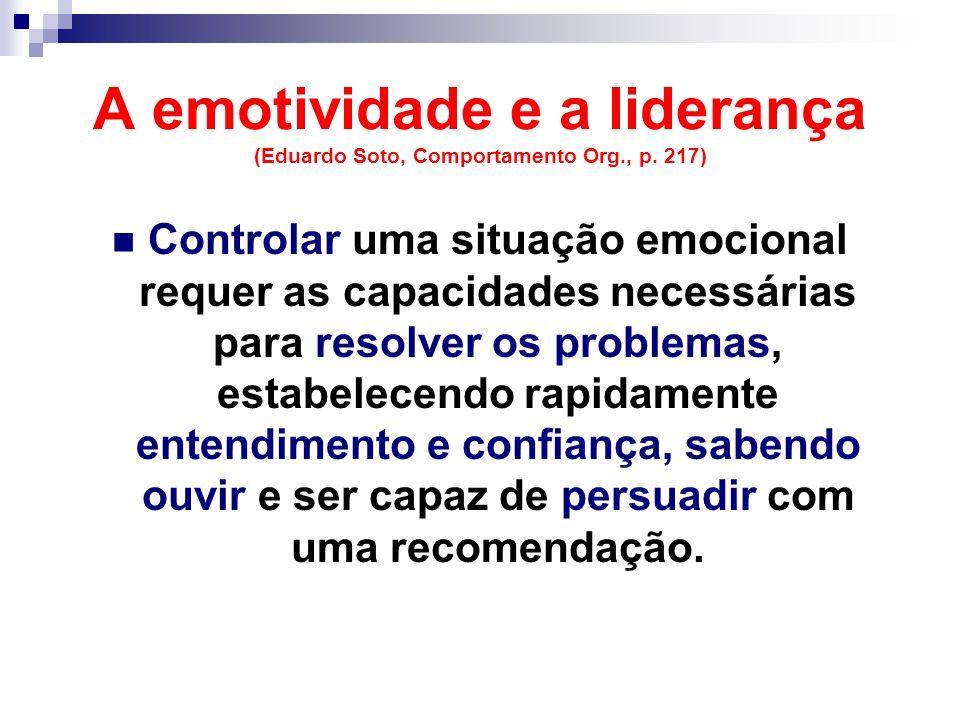 A emotividade e a liderança (Eduardo Soto, Comportamento Org., p.