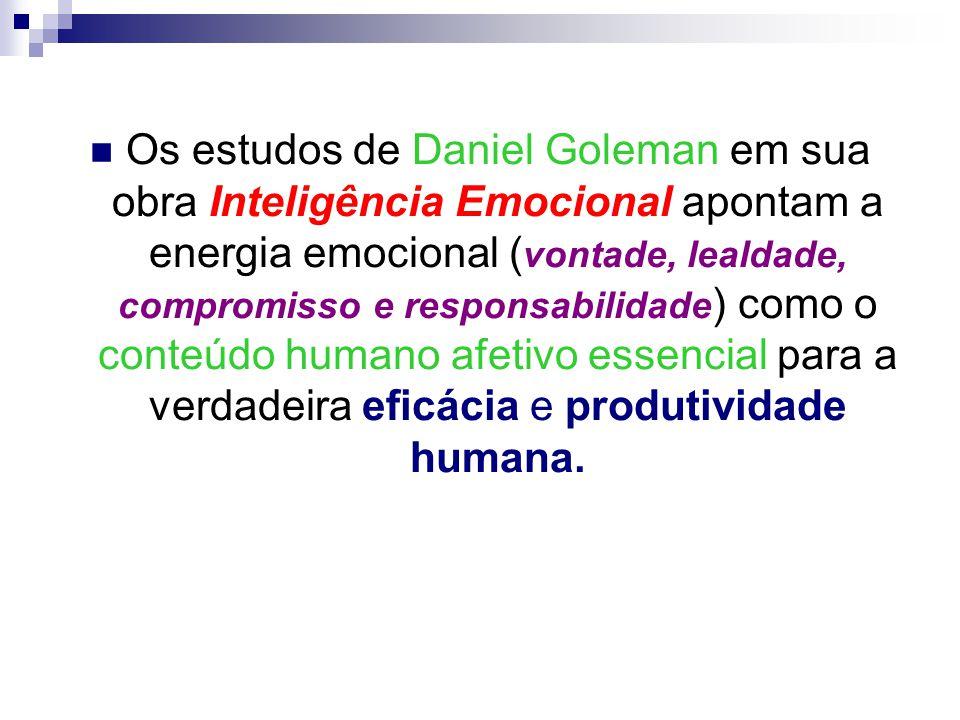 Os estudos de Daniel Goleman em sua obra Inteligência Emocional apontam a energia emocional ( vontade, lealdade, compromisso e responsabilidade ) como o conteúdo humano afetivo essencial para a verdadeira eficácia e produtividade humana.