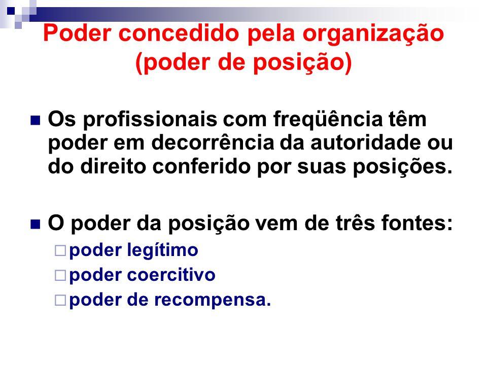 Poder concedido pela organização (poder de posição) Os profissionais com freqüência têm poder em decorrência da autoridade ou do direito conferido por suas posições.