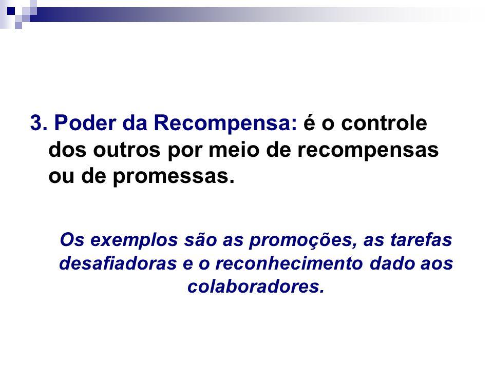 3.Poder da Recompensa: é o controle dos outros por meio de recompensas ou de promessas.
