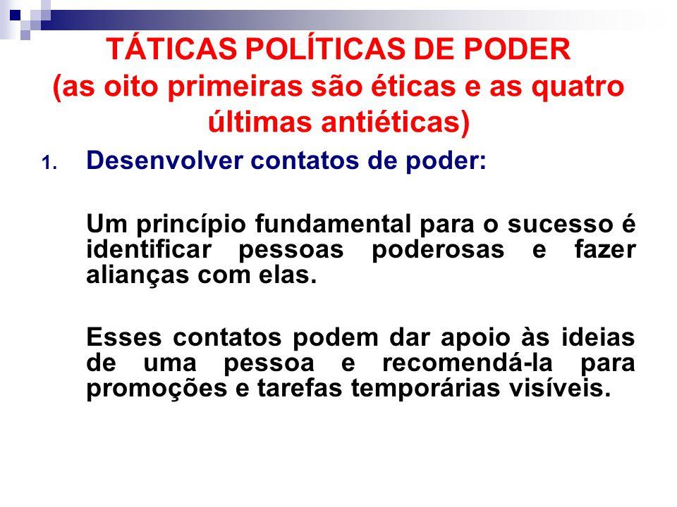 TÁTICAS POLÍTICAS DE PODER (as oito primeiras são éticas e as quatro últimas antiéticas) 1.