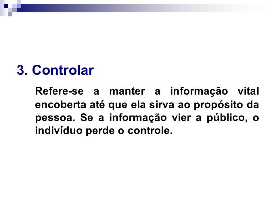 3. Controlar Refere-se a manter a informação vital encoberta até que ela sirva ao propósito da pessoa. Se a informação vier a público, o indivíduo per