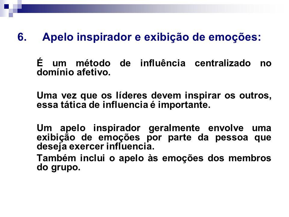 6. Apelo inspirador e exibição de emoções: É um método de influência centralizado no domínio afetivo. Uma vez que os líderes devem inspirar os outros,