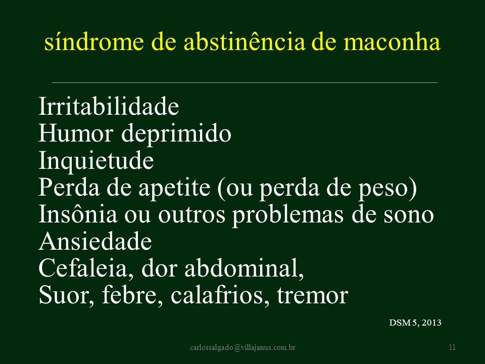 síndrome de abstinência de maconha Irritabilidade Humor deprimido Inquietude Perda de apetite (ou perda de peso) Insônia ou outros problemas de sono A