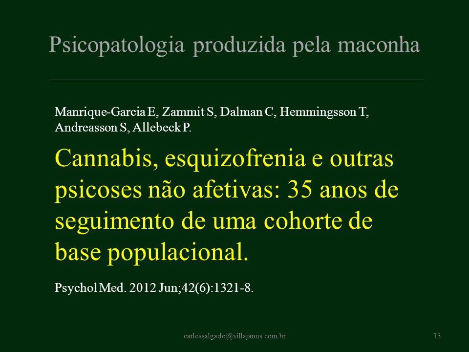Psicopatologia produzida pela maconha Manrique-Garcia E, Zammit S, Dalman C, Hemmingsson T, Andreasson S, Allebeck P. Cannabis, esquizofrenia e outras