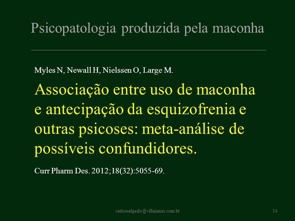 Psicopatologia produzida pela maconha Myles N, Newall H, Nielssen O, Large M. Associação entre uso de maconha e antecipação da esquizofrenia e outras