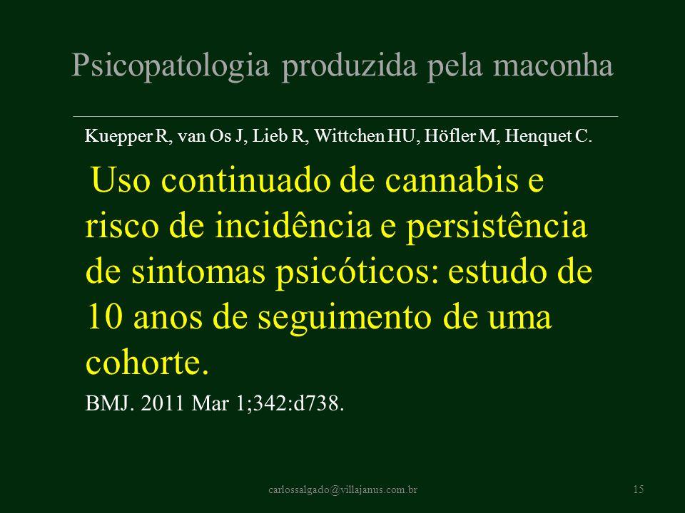 Psicopatologia produzida pela maconha Kuepper R, van Os J, Lieb R, Wittchen HU, Höfler M, Henquet C. Uso continuado de cannabis e risco de incidência
