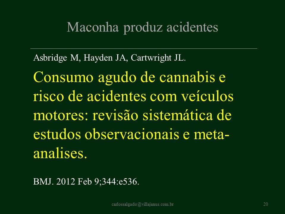 Maconha produz acidentes Asbridge M, Hayden JA, Cartwright JL. Consumo agudo de cannabis e risco de acidentes com veículos motores: revisão sistemátic