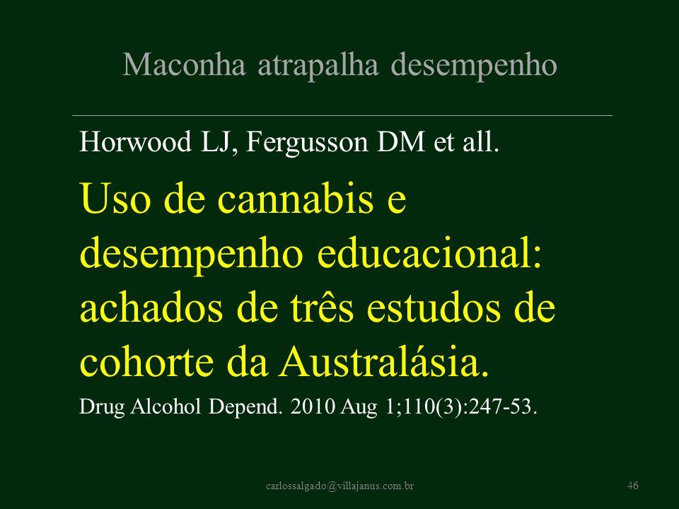 Maconha atrapalha desempenho Horwood LJ, Fergusson DM et all. Uso de cannabis e desempenho educacional: achados de três estudos de cohorte da Australá