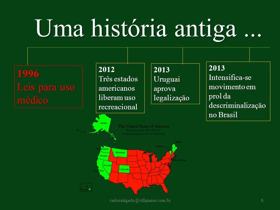 2012 Três estados americanos liberam uso recreacional 2013 Intensifica-se movimento em prol da descriminalização no Brasil Uma história antiga... 1996