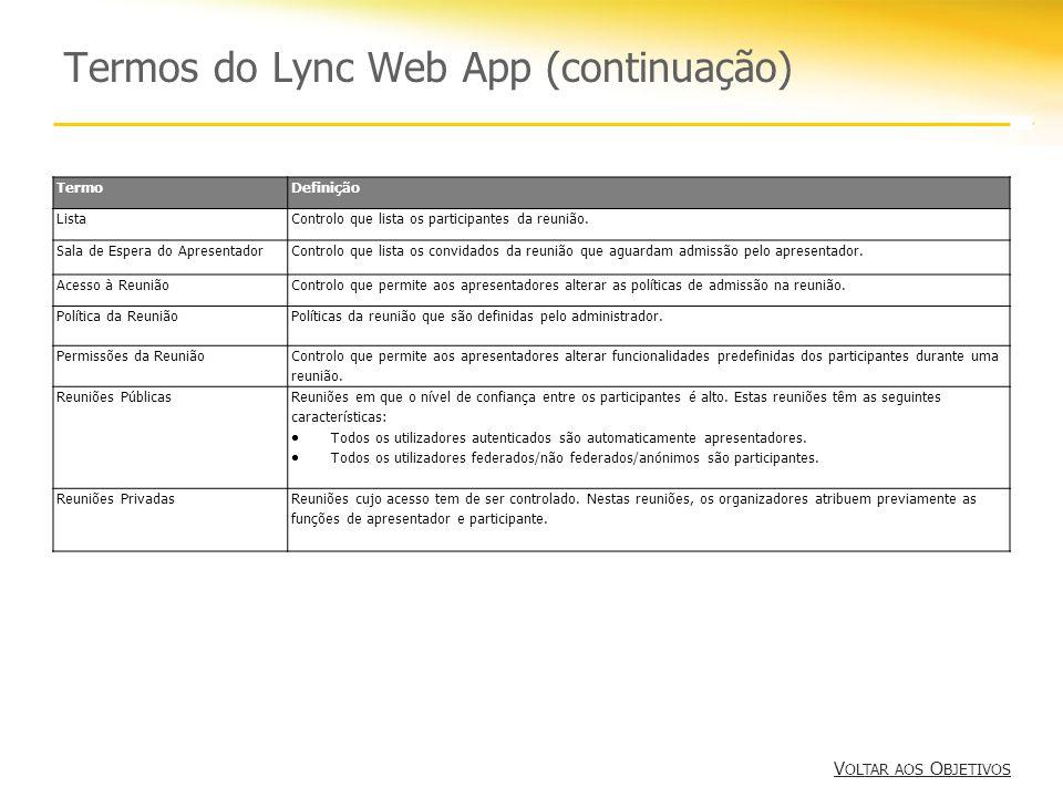 Termos do Lync Web App (continuação) V OLTAR AOS O BJETIVOS V OLTAR AOS O BJETIVOS TermoDefinição ListaControlo que lista os participantes da reunião.