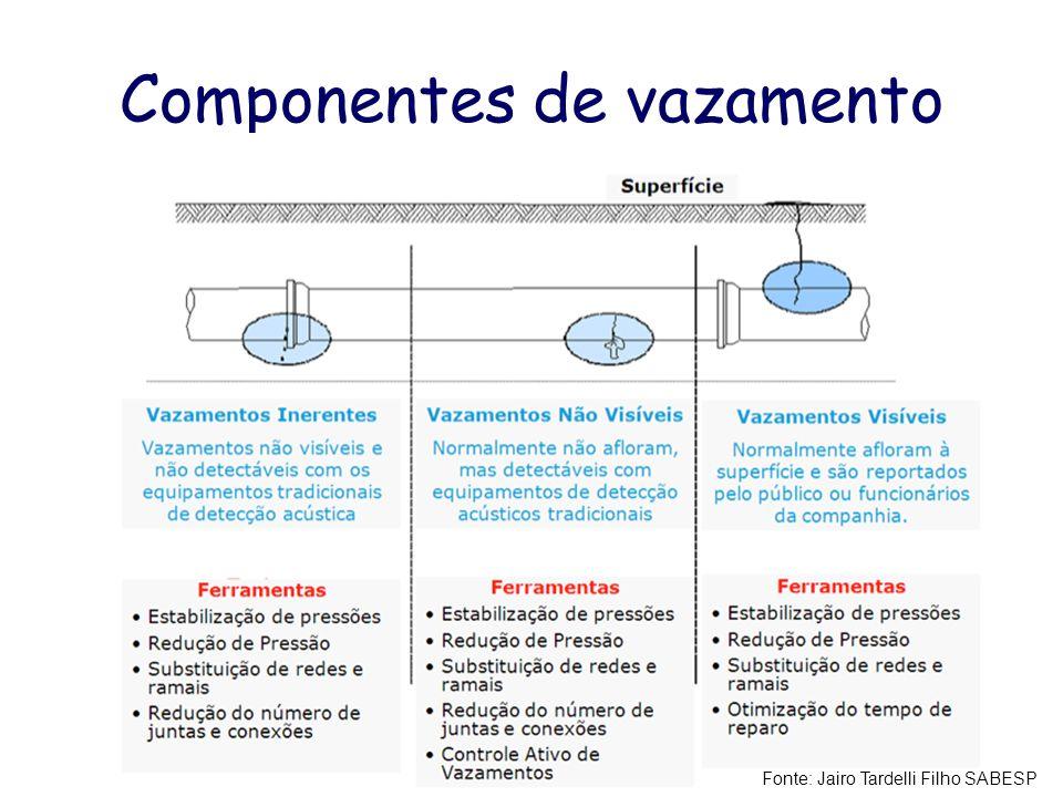 Componentes de vazamento Fonte: Jairo Tardelli Filho SABESP
