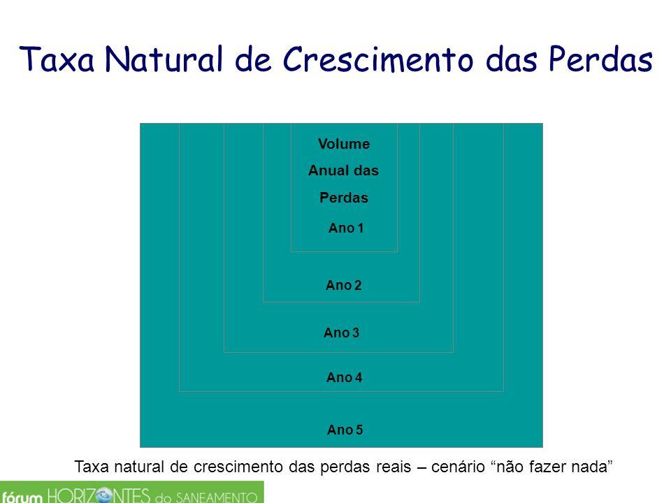"Taxa Natural de Crescimento das Perdas Ano 5 Ano 4 Ano 3 Ano 2 Ano 1 Volume Anual das Perdas Taxa natural de crescimento das perdas reais – cenário ""n"