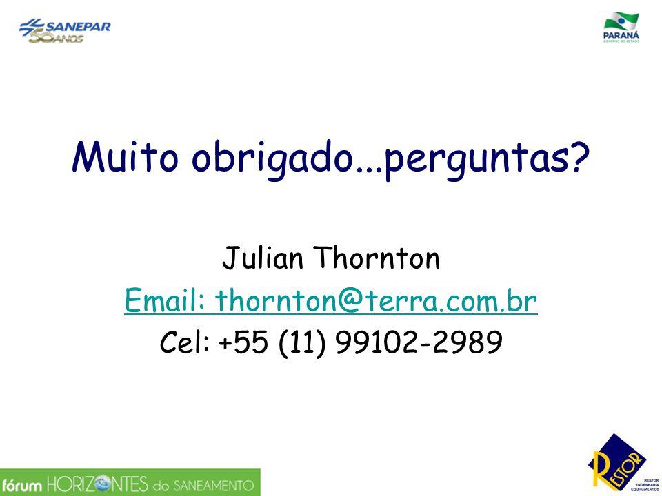 Muito obrigado...perguntas? Julian Thornton Email: thornton@terra.com.br Cel: +55 (11) 99102-2989