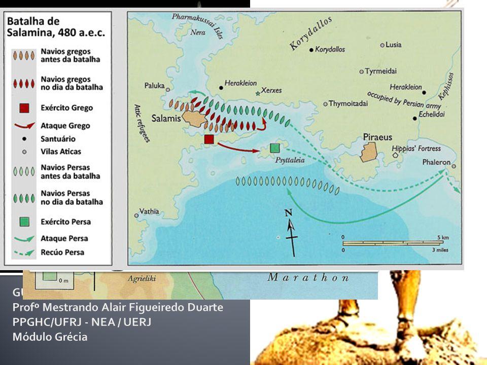 As Guerras Médicas Aliança pan-helênica contra o avanço persa na Hélade (490-479 a.C.) A Guerra Justa G. Defesa G. Reparação G. Punição A força naval