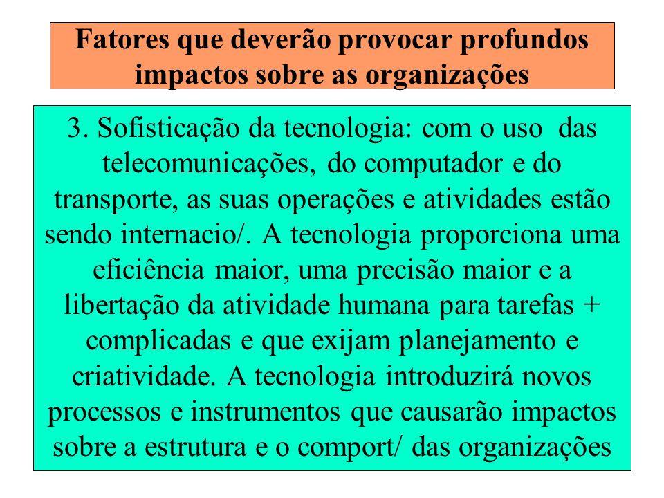 7 Fatores que deverão provocar profundos impactos sobre as organizações 3. Sofisticação da tecnologia: com o uso das telecomunicações, do computador e