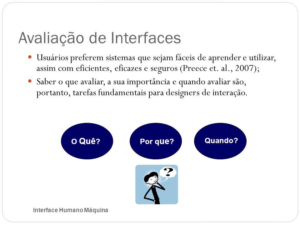Avaliação de Interfaces Interface Humano Máquina Usuários preferem sistemas que sejam fáceis de aprender e utilizar, assim com eficientes, eficazes e seguros (Preece et.