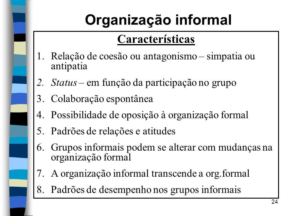 24 Organização informal Características 1.Relação de coesão ou antagonismo – simpatia ou antipatia 2.Status – em função da participação no grupo 3.Col